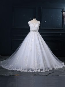 Sleeveless Tulle Brush Train Zipper Bridal Gown in White with Beading and Lace