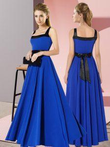 Royal Blue Square Zipper Belt Vestidos de Damas Sleeveless