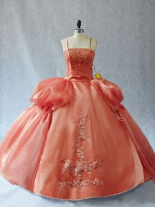 Rust Red Ball Gowns Organza Straps Sleeveless Appliques Floor Length Lace Up Quinceanera Dresses