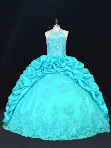 Taffeta Sleeveless Floor Length Quinceanera Dresses and Beading and Appliques and Embroidery and Pick Ups