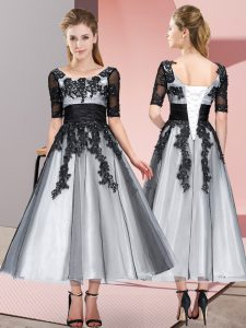 Fitting Short Sleeves Tea Length Beading and Lace Lace Up Quinceanera Court of Honor Dress with Grey