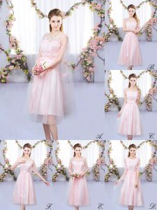 Hot Selling Tea Length Empire Sleeveless Baby Pink Dama Dress for Quinceanera Lace Up