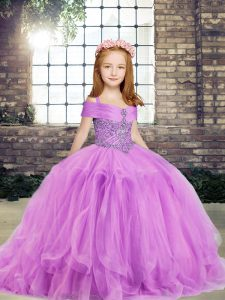 Top Selling Sleeveless Tulle Floor Length Side Zipper Little Girl Pageant Gowns in Lilac with Beading