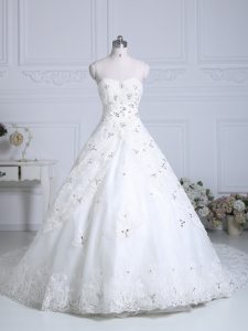 White Sweetheart Neckline Beading and Lace Wedding Dress Sleeveless Lace Up