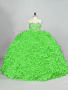 Quinceanera Gowns Fabric With Rolling Flowers Court Train Sleeveless Beading and Ruffles