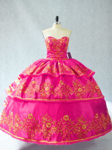 High Quality Hot Pink Quinceanera Dresses Sweetheart Sleeveless Lace Up