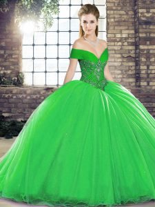 Green Sleeveless Organza Brush Train Lace Up Quince Ball Gowns for Military Ball and Sweet 16 and Quinceanera