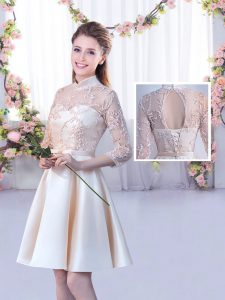 Mini Length A-line Half Sleeves Champagne Quinceanera Dama Dress Lace Up