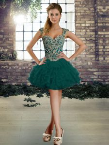 Elegant Dark Green Sleeveless Organza Lace Up Prom Evening Gown for Prom and Party