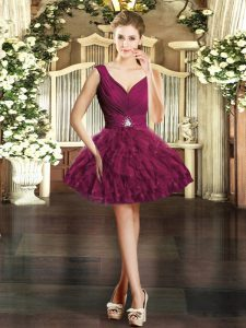Beautiful Burgundy Organza Backless V-neck Sleeveless Mini Length Prom Dresses Beading and Ruffles