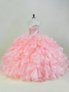 Wonderful Ball Gowns Sleeveless Peach Sweet 16 Quinceanera Dress Lace Up