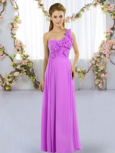 Lilac Empire Chiffon One Shoulder Sleeveless Hand Made Flower Floor Length Lace Up Vestidos de Damas