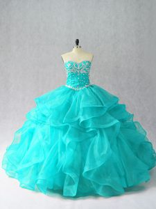 Aqua Blue Ball Gowns Organza Sweetheart Sleeveless Beading and Ruffles Floor Length Lace Up Ball Gown Prom Dress