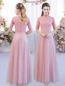 Wonderful Pink High-neck Zipper Lace Dama Dress Half Sleeves