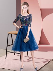 Navy Blue Empire Embroidery Quinceanera Court of Honor Dress Lace Up Tulle Half Sleeves Knee Length