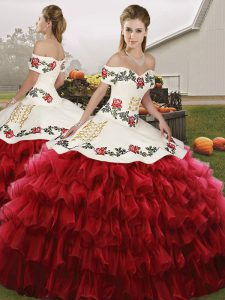 Wine Red Off The Shoulder Lace Up Embroidery and Ruffled Layers Vestidos de Quinceanera Sleeveless