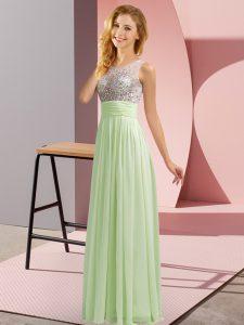 Dazzling Yellow Green Chiffon Side Zipper Vestidos de Damas Sleeveless Floor Length Beading