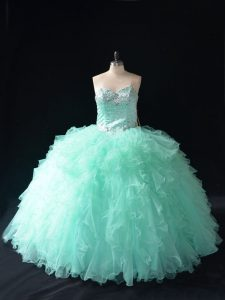 Stunning Floor Length Apple Green Quince Ball Gowns Tulle Sleeveless Beading and Ruffles