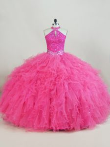 Designer Floor Length Ball Gowns Sleeveless Hot Pink Quinceanera Dresses Lace Up