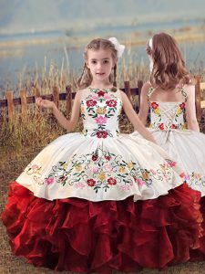 Superior Sleeveless Lace Up Floor Length Embroidery and Ruffles Little Girls Pageant Gowns