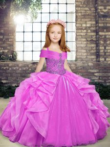 Floor Length Lilac Girls Pageant Dresses Organza Sleeveless Beading and Ruffles