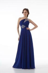 Discount Sleeveless Chiffon Floor Length Zipper in Royal Blue with Beading