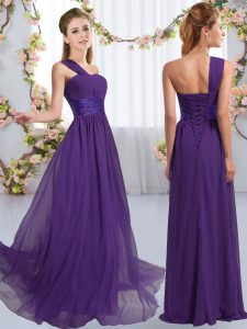 Fancy One Shoulder Sleeveless Lace Up Bridesmaids Dress Purple Chiffon