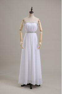 Inexpensive Beading Bridal Gown White Backless Sleeveless Floor Length