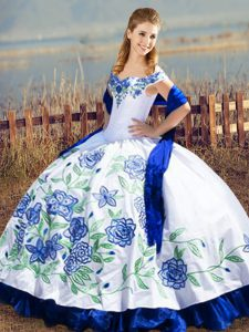Satin and Organza Off The Shoulder Sleeveless Lace Up Embroidery and Ruffles Quinceanera Gowns in Blue And White