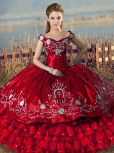 Sleeveless Floor Length Embroidery and Ruffled Layers Lace Up Sweet 16 Dresses with Red