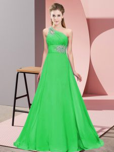 Excellent Lace Up Green for Prom and Party and Military Ball with Beading Brush Train