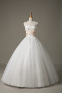 Comfortable Sleeveless Floor Length Beading and Lace Lace Up Wedding Gowns with White