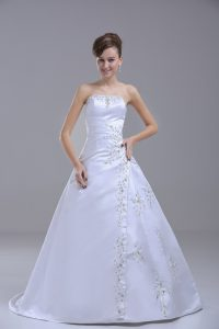 Flirting Strapless Sleeveless Wedding Gowns Brush Train Beading White Satin