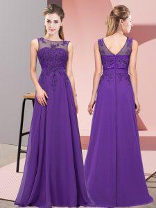 Glittering Purple Scoop Neckline Beading and Appliques Quinceanera Court Dresses Sleeveless Zipper