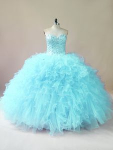 Smart Sleeveless Floor Length Beading and Ruffles Lace Up 15th Birthday Dress with Aqua Blue