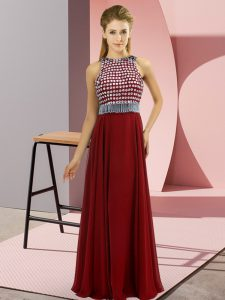 Customized Scoop Sleeveless Side Zipper Prom Evening Gown Red Chiffon