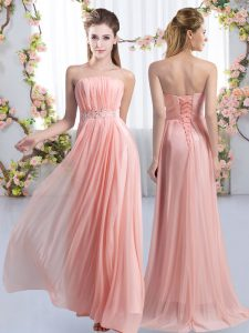 Pink Lace Up Strapless Beading Bridesmaids Dress Chiffon Sleeveless Sweep Train