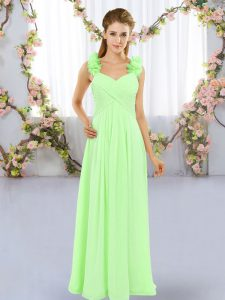 Designer Floor Length Quinceanera Court of Honor Dress Straps Sleeveless Lace Up