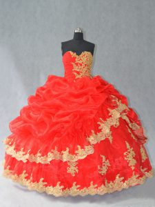 Fashionable Red Ball Gowns Organza Sweetheart Sleeveless Lace and Appliques and Pick Ups Floor Length Lace Up Quinceaner