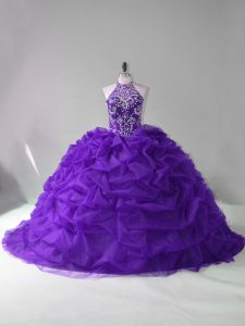 Purple Sleeveless Beading and Pick Ups Lace Up Quinceanera Gowns