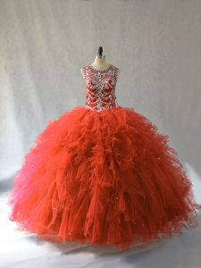 Unique Orange Red Ball Gowns Scoop Sleeveless Tulle Floor Length Lace Up Beading and Ruffles Sweet 16 Dress