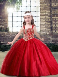 New Style Ball Gowns Little Girl Pageant Gowns Red Straps Tulle Sleeveless Floor Length Lace Up