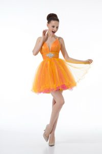 Fancy Orange Ball Gowns Beading and Ruching Prom Gown Zipper Tulle Sleeveless Mini Length