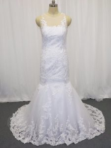 White Side Zipper Scoop Lace Wedding Gowns Tulle Sleeveless Brush Train