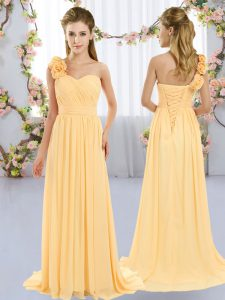 Cute Gold Chiffon Lace Up Bridesmaid Gown Sleeveless Brush Train Hand Made Flower