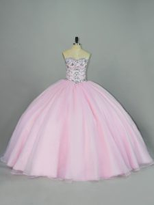 Comfortable Baby Pink Ball Gowns Tulle Sweetheart Sleeveless Beading Lace Up Quinceanera Gown