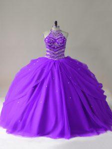 Purple Sleeveless Beading Floor Length Quinceanera Dress