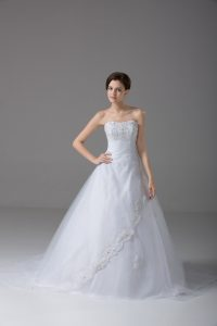 Sophisticated White Ball Gowns Strapless Sleeveless Tulle Brush Train Lace Up Beading and Lace Wedding Gowns