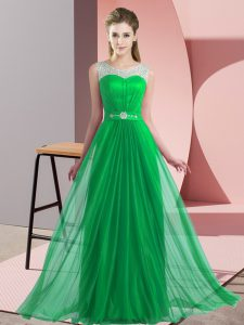 Fancy Chiffon Scoop Sleeveless Lace Up Beading Court Dresses for Sweet 16 in Green