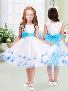 High End Scoop Sleeveless Tulle Toddler Flower Girl Dress Appliques and Belt Zipper